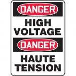 "Accuform FBMELC114XT, Bilingual Safety Sign ""Danger, High Voltage"""