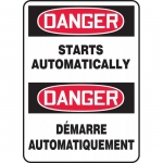 """Accuform FBMEQM048XT, Bilingual Sign """"Danger, Starts Automatically"""""""