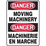 """Accuform FBMEQM060XF, Bilingual Safety Sign """"Danger, Moving Machinery"""""""