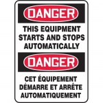 """Accuform FBMEQM088XT, Safety Sign """"Danger, This Equipment Starts…"""""""
