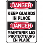 """Accuform FBMEQM158VS, Bilingual Sign """"Danger, Keep Guards In Place"""""""