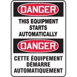 """Accuform FBMEQM176VS, Safety Sign """"Danger, This Equipment Starts…"""""""