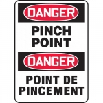 """Accuform FBMEQM205VS, Bilingual Safety Sign """"Danger, Pinch Point"""""""