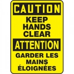 """Accuform FBMEQM623XT, Bilingual Sign """"Caution, Keep Hands Clear"""""""