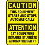 """Accuform FBMEQM630VS, Sign """"Caution, This Equipment Starts and …"""""""