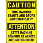 """Accuform FBMEQM721VS, Sign """"Caution, This Machine Starts and…"""""""