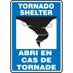 "Accuform FBMFEX553XP, Bilingual French Sign ""Tornado Shelter"""