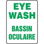 """Accuform FBMFSD423XT, Bilingual Safety Sign """"Eye Wash"""" Dura-Plastic"""