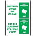 """Accuform FBMFSR502XT, Bilingual Sign """"Emergency, Shower and Eye Wash"""""""