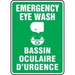 """Accuform FBMFSR509XT, 10″ x 14″ Bilingual Sign """"Emergency, Eye Wash"""""""