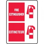 """Accuform FBMFXG518VS, Bilingual Safety Sign """"Fire Extinguisher"""""""