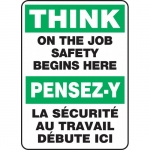 """Accuform FBMGNF996XT, Bilingual Safety Sign """"Think On the Job…"""""""