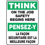 """Accuform FBMGNF999XT, Safety Sign """"Think on the Job Safety…"""""""