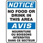 "Accuform FBMHSK838XP, Bilingual Sign ""Notice, No Food or Drink…"""