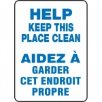 """Accuform FBMHSK946VS, Bilingual Sign """"Help Keep This Place Clean"""""""