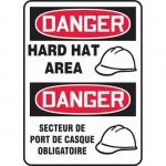 "Accuform FBMPPA027VS, Bilingual Safety Sign ""Danger, Hard Hat Area"""