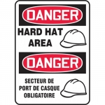 """Accuform FBMPPA106XV, Bilingual Safety Sign """"Danger, Hard Hat Area"""""""