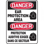 """Accuform FBMPPE130XV, Bilingual Sign """"Danger, Ear Protection Area"""""""