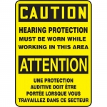 """Accuform FBMPPE646XF, Bilingual Sign """"Caution, Hearing Protection…"""""""