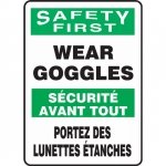 """Accuform FBMPPE915XV, Bilingual Sign """"Safety First, Wear Goggles"""""""