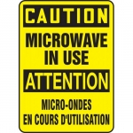 """Accuform FBMRAD602XV, Bilingual Sign """"Caution, Microwave in Use"""""""