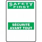 "Accuform FBMRBH971XV, Bilingual OSHA Blank ""Safety First"""