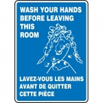 """Accuform FBMRST544XV, Bilingual Sign """"Wash Your Hands Before…"""""""