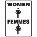 "Accuform FBMRST575XV, Bilingual Restroom Sign ""Women"" Dura-Vinyl"