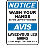 """Accuform FBMRST803XV, Bilingual Sign """"Notice, Wash Hands Before…"""""""