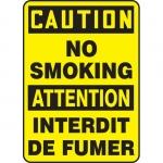 """Accuform FBMSMK622XV, Bilingual Sign """"Caution, No Smoking"""""""