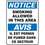 """Accuform FBMSMK806XV, Sign """"Notice, Smoking Allowed in This Area"""""""