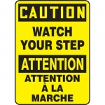 """Accuform FBMSTF632VS, Bilingual Safety Sign """"Caution, Watch Your Step"""""""