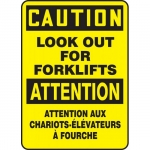 """Accuform FBMVHR661VS, Bilingual Sign """"Caution, Look Out For Forklifts"""""""