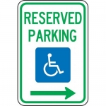 """Accuform FRA140RA, Federal Sign """"Reserved Parking Right Arrow"""""""