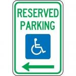 "Accuform FRA142RA, Federal Sign ""Reserved Parking Left Arrow"""