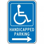 """Accuform FRA224RA, Parking Sign """"Handicapped Parking Right Arrow"""""""