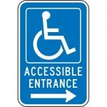 "Accuform FRA236RA, Handicap Sign ""Accessible Entrance Right Arrow"""
