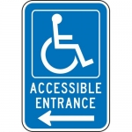 "Accuform FRA238RA, Handicap Sign ""Accessible Entrance Left Arrow"""