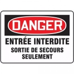 Accuform FRMADC011VS, Bilingual French Fire Exit Sign Adhesive Vinyl