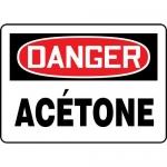 "Accuform FRMCHG003VP, OSHA French Sign ""Danger, Acetone"""