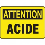 "Accuform FRMCHL666XT, Sign ""Attention, Acide"" Dura-Plastic"
