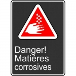 """Accuform FRMCSA150XL, French Sign """"Danger! Matieres Corrosives"""""""