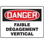 """Accuform FRMECR007XF, French Sign """"Faible Degagement Vertical"""""""