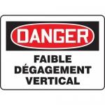 "Accuform FRMECR008VS, French Sign ""Faible Degagement Vertical"""
