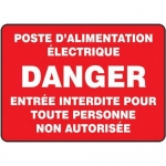 "Accuform FRMELC531XF, French Sign ""Poste D'Alimentation Electrique…"""