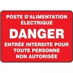"""Accuform FRMELC536VS, French Sign """"Poste D'Alimentation Electrique…"""""""