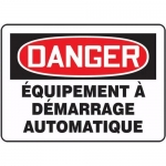 """Accuform FRMEQM101XF, French Sign """"Equipement a Demarrage Automatique"""""""