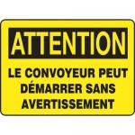 """Accuform FRMEQM739VS, Sign """"Le Convoyeur Peut Demarrer Sans…"""""""