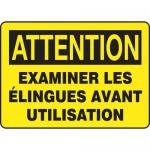 """Accuform FRMEQT606VS, Sign """"Examiner Les Elingues Avant Utilisation"""""""