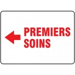 """Accuform FRMFSD532VS, French Sign """"Premiers Soins"""" & Left Arrow Symbol"""
